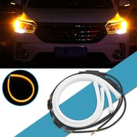 Wholesale drl strips resale online - 2x cm Flexible LED Tube Strip Daytime Running Light DRL Turn Signal Light Car LED Strip White Turn signal Yellow