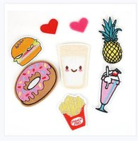 Wholesale embroidery trim patches resale online - Patches For Clothing Iron On Embroidered Appliques DIY Apparel Accessories Patches chips Hamburger Pineapple Styles
