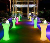 diodos de luz led cuadrados al por mayor-Mesa de cóctel iluminada con LED, Lounge LED, mesa de bar con luces a prueba de agua a prueba de agua, mesa de café con luz, recargable, mesa de centro con luz encendida