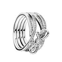 delicados anillos de plata al por mayor-Auténtica plata esterlina 925 CZ Anillo de diamante Conjunto de Logo Caja original para Pandora Sentimientos delicados Anillo de bowknot para mujeres niñas