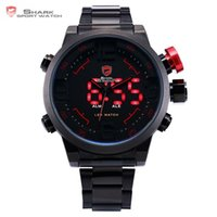 hai schwarze rote uhr groihandel-Gulper Shark Sportuhr Digital Led Herren Top Marke Luxus Schwarz Rot Kalender Stahlband Handgelenk Quarzuhren Reloj Hombre / sh105 Y19051503