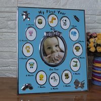 aufzeichnungsrahmen großhandel-Baby-Geschenk mein erstes Jahr 1 bis 12 Monate Fotorahmen Kinder Andenken Metallrahmen Home Decor Baby Wachstum Rekord angepasst Fotos