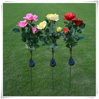 ingrosso fiori di giardino solare potenza-Outdoor Solar Powered 3 LED luce impermeabile fiore rosa Palo partito Decorativo LED luci solari per la casa giardino prato percorso