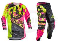 lila radfahren trikots setzt groihandel-Fish Racing Kinetic Outlaw Trikot Hose Combo Set Reiten MX ATV Motocross Off Road Mx Gear