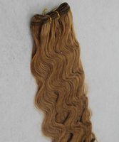 cor do cabelo 27 morango loira venda por atacado-Brasileiro # 27 Cor Loira Morango Onda Do Corpo Extensões de Cabelo 100% Cabelo Humano Tecer 10-30 Polegadas Extensões de Cabelo Não Remy