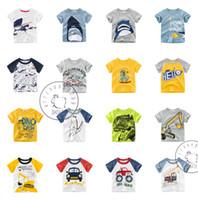 ingrosso i capretti squalo i vestiti-Cartoon Shark Dinosaur Crane Kids Boys vestiti T-shirt Tee manica corta 100% cotone A buon mercato all'ingrosso 2019 Estate 1-10Y