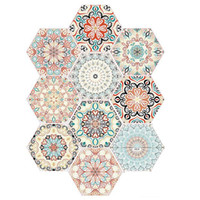 Wholesale kitchen wall tiles designs for sale - Group buy Color Flower Pattern Hexagon Floor Sticker Kitchen Bathroom Toilet Decor Tile Wall Sticker PVC Mural Stickers D Decals