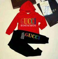 ingrosso hoodie per bambini-Nuovo marchio di stilista Baby Autumn Clothes Set Bambini Boy Girl Long Sleeve Hoodie Top + Pants 2 pezzi Abiti moda Tuta Abiti