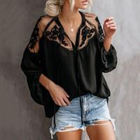 roupa preta china venda por atacado-2019 Senhoras de Verão Preto Tops Chiffon Camisas Blusas Mulheres Sheer Roupas Baratas China Femininas Camisas Vestuário Feminino Plus Size
