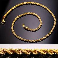 colares de 3mm venda por atacado-Hip Hop 18 K Banhado A Ouro de Aço Inoxidável 3 MM Trançado Corda Cadeia das Mulheres Gargantilha Colar para Homens Hiphop Jóias Presente em Massa