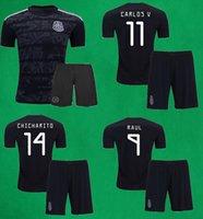 mens thai futbol formaları toptan satış-2019 Meksika Futbol Forması Şort 19 20 CHICHARITO MARQUEZ DOS SANTOS LAYUN LOZANO Futbol Takımları Erkek Tay Kalite Siyah Futbol Takımları