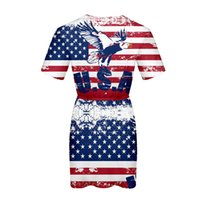 Wholesale usa women casual dress resale online - American Independence Day Women Dress Summer D Printed Flag of USA Casual Dress Formal Dress
