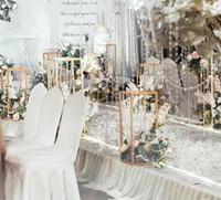 Wholesale decoration vases for weddings tables resale online - Flower Vase Gold Column Stand Metal Road Lead Wedding Centerpiece Flower Rack For Event Party Table Decoration