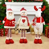 muñeca grande de santa claus al por mayor-Muñecas de Navidad de gran tamaño Retráctil Papá Noel Muñeco de nieve Elk Juguetes Figuras de Navidad Regalo de Navidad para niños Ornamento del árbol de Navidad rojo