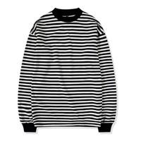 siyah uzun tişörtü toptan satış-Boy Sokak Stil Erkek Kazak Crewneck Siyah ve Beyaz Çizgili Tee Nervürlü Uzun Kollu Kazak Ücretsiz Nakliye