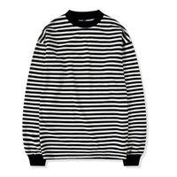camiseta de manga longa preta listrada venda por atacado-Oversize Street Style Mens Camisola Crewneck Preto e Branco Listrado Tee Com Nervuras de Manga Longa Pullover Frete Grátis