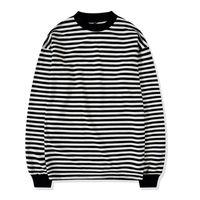 camiseta rayada blanca negra al por mayor-Oversize Street Style para hombre sudadera con cuello redondo en blanco y negro a rayas acanalado manga larga Pullover envío gratis