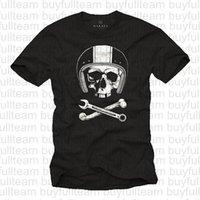 ingrosso caschi moto xxl-Moto Caschi maglietta Meccanica Skull Tee maniche corte nera Mens Tops Moda girocollo T-shirt Taglia S M L XL 2XL 3XL