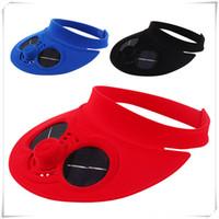 крышка вентилятора охлаждения оптовых-Летняя спортивная кепка Пустой цилиндр с вентилятором на солнечной батарее Крышка вентилятора охлаждения для пеших прогулок на открытом воздухе
