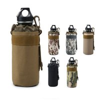 Wholesale hiking water holder resale online - Outdoor sports water bottle bag sleeve portable camouflage tactical mount packs mountain bike cycling cup kettle holder bags LJJZ477