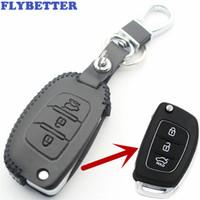 clave ix35 al por mayor-FLYBETTER Funda con tapa giratoria de 3 botones de cuero genuino para Hyundai I20 / I30 / IX25 / IX35 / Tucson / Verna / Solaris / Elantra / Accent L14