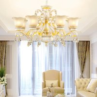 Wholesale semi mount pendant white gold resale online - New European style luxury resin crystal chandelier lighting glass lampshade white chandelier lights bedroom dinning room led pendant lamps