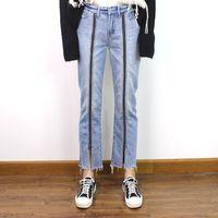 Wholesale split jeans resale online - Denim Trousers For Women High Waist Zippers Split Ankle Length Straight Jeans Female Streetwear Fashion Spring