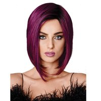женские парики красные оптовых-Сексуальные женские натуральные парики красное вино фиолетовые парики стиль боб синтетические парики полный парик