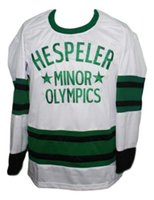 олимпийские хоккейные майки белые оптовых-Gretzky Hespeller Minor Olympics Ретро хоккейный трикотаж Новый белый Персонализированный шов под любым номером любое имя Мужская хоккейная майка XS-5XL