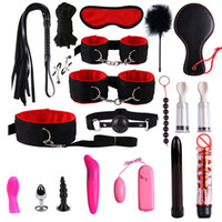 Wholesale bdsm sex toys resale online - 20 set BDSM Bondage Set Butt Anal Rope Whip Blindfold Dildo Adult Sex Toy Game for Women J1124