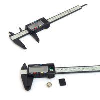 karbon göstergesi toptan satış-150mm 6inch LCD Dijital Elektronik Karbon Elyaf Sürmeli Kaliper Mikrometre Plastik Kumpas mengmeng666 Ölçer