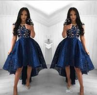 ingrosso arte di corvo-2019 New Blue Navy Blue Abiti da sposa Una linea girocollo pizzo alto basso vestito da promenade Breve festa abiti da sera arabi Vestidos