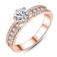 Wholesale white gold infinity ring resale online - Classic Charms Crystal Infinity Rings For Women Luxurious Shiny CZ Rose gold Silver color Romantic Wedding ring Anillos Jewelry