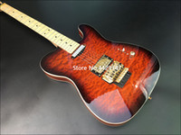 Wholesale tl guitar maple resale online - High quality TL electric guitar basswood body maple fingerboard with red flame pattern gold hardware