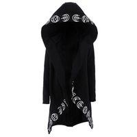 serin siyah sweatshirtler toptan satış-Erkekler Gotik Kapüşonlular Artı boyutu S-6XL Casual Serin Siyah Tişörtü Gevşek Pamuk Kapşonlu Çiftler Punk Hoodies yazdır