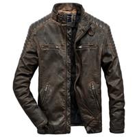 ingrosso giacca moto marrone-Giacca in vera pelle da uomo autentica per motociclismo Vintage marrone nera Parka Slim uomo inverno caldo cappotto Moto motociclista casual