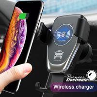 hava cihazları toptan satış-C12 Kablosuz Araç Şarj 10 W Hızlı Kablosuz Şarj Araç Montaj Hava Firar Yerçekimi Telefon Tutucu iphone samsung tüm Qi Cihazlar için Uyumlu