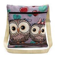 eule schultaschen taschen großhandel-US Frauen Umhängetasche Postman Messenger Geldbörse Zip Owl Satchel Tote Handtasche Geschenk