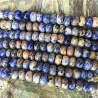 flache steine für schmuck machen großhandel-10pcsBeads / Lot 5X8 MM Natürliche Sodalith Stein Perlen für DIY Schmuck Machen Flache Runde Spacer Dekorative Zubehör Abacus Perle