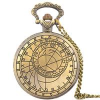 Wholesale big watch necklace resale online - Hot popular rural design mens women retro vintage roma big dial mm students pocket watch Necklace Bronze Pendant Chain Clock
