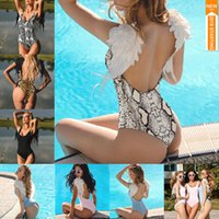 Wholesale women swimsuit backless one piece for sale - Group buy 2019 New One Piece Angel Wings Bikini Swimwear Solid Family Bathing Suit Beach Backless Women Swimsuit With Wings MMA1773