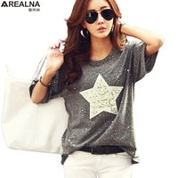 Wholesale star pattern shirt resale online - Fashion T Shirt Women Tops Short Sleeve Cotton Tees Shiny Star Patterns With Sequined Summer Rhinestone Camisetas Mujer xl S19715