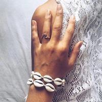 Wholesale woven anklets resale online - Handmade Shell Weave Rope Chain Bracelet for Women Bohemian Ethnic Anklet Bracelet Holiday Beach Jewelry