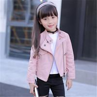 pu jacken für kinder großhandel-Mädchen Pu Jacken Einfarbig Reißverschluss Klassischer Kragen Cooles Mädchen Mäntel Teen Winddichte Jacke Kinderbekleidung Mantel Kinderjacken