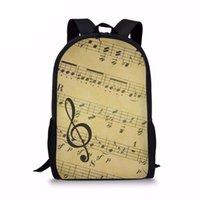 ingrosso note musicali d'epoca-Vintage Music Note Stampa Donne Uomini Zaini Casual Studenti Laptop Daypacks Viaggi di moda Ragazze quotidiane Knapsacksumka