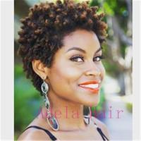destruição do cabelo humano venda por atacado-Muito Afro Curls Cabelo Humano máquina Cheia fez nenhum Lace Wigs Afro Crespo Encaracolado Dianteira Do Laço Perucas de Cabelo Humano Unprocess cabelo Indiano peruano