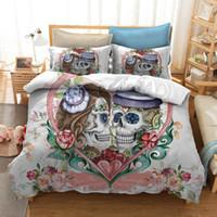 Wholesale blue double bedding sets online - Drop Shipping D flower Bedding Set Duvet Cover Pillowcase Red Rose Beauty Skull quilt Cover Set single double bedclothes