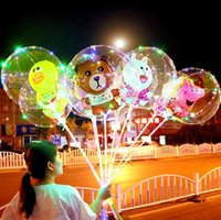 Wholesale cartoon balloon sticks resale online - LED Flashing Bobo Balloons Cartoon Night Lighting Bobo Ball With Stick Wedding Decoration Party Favor OOA5995