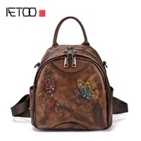 ccad8c2e21fe AETOO Tree high leather retro shoulder bag leather cowhide Europe and  America hand rub color backpack antique