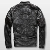 gerçek deri motosiklet ceketleri toptan satış-Harley motosiklet binici ceketi deri ceket adamın hakiki dana nakış kafatası deri ceket ince mens